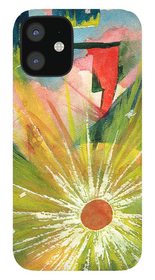Downtown IPhone 12 Case featuring the painting Urban Sunburst by Andrew Gillette
