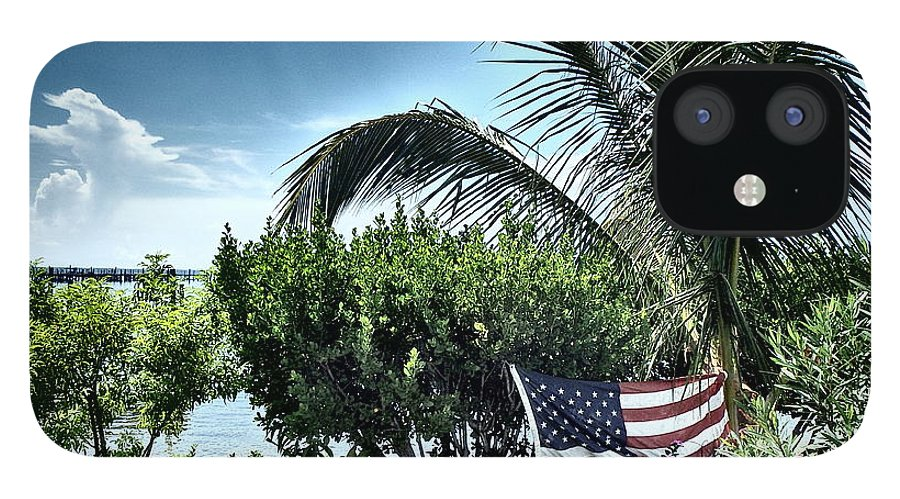 Amerian Flag IPhone 12 Case featuring the photograph US Flag in the Abaco Islands, Bahamas by Cindy Ross