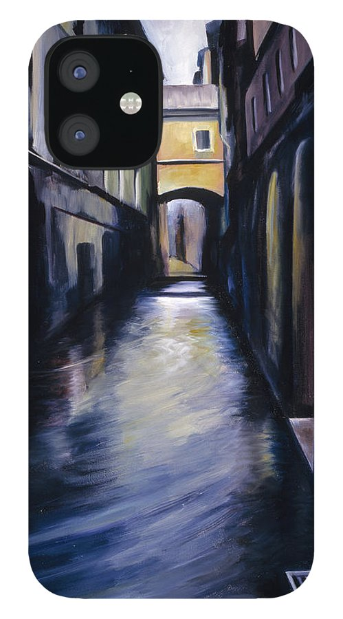 Street; Canal; Venice ; Desert; Abandoned; Delapidated; Lost; Highway; Route 66; Road; Vacancy; Run-down; Building; Old Signage; Nastalgia; Vintage; James Christopher Hill; Jameshillgallery.com; Foliage; Sky; Realism; Oils IPhone 12 Case featuring the painting Venice by James Christopher Hill