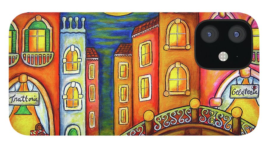 Colourful IPhone 12 Case featuring the painting Venice Soiree by Lisa Lorenz