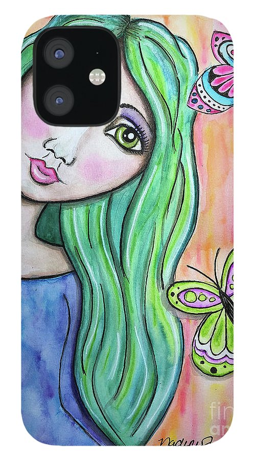Whimsical Character IPhone 12 Case featuring the painting Hazel by Nadine Larder