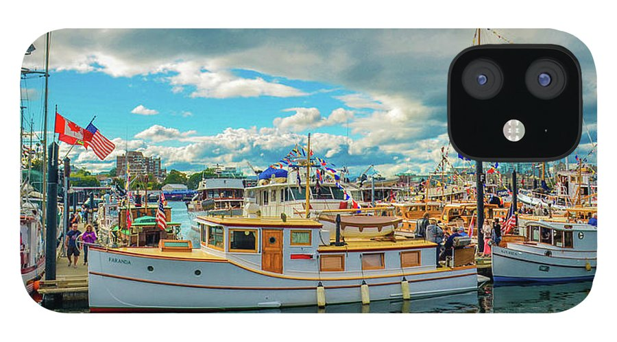 Boats IPhone 12 Case featuring the photograph Victoria Harbor old boats by Jason Brooks