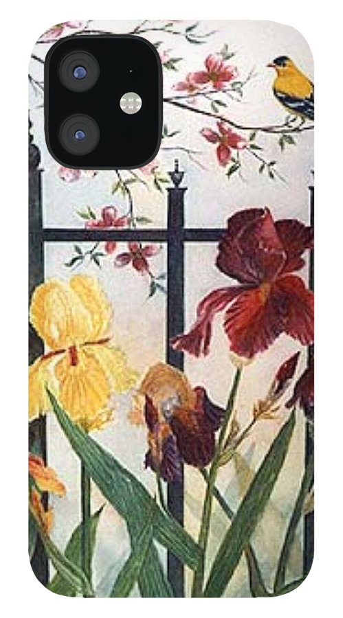 Irises; American Goldfinch; Dogwood Tree IPhone 12 Case featuring the painting Victorian Garden by Ben Kiger