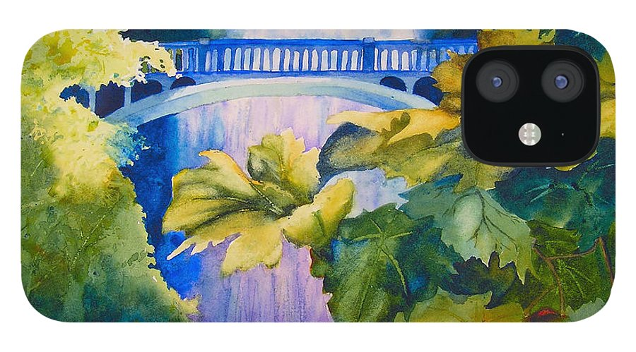 Waterfall IPhone 12 Case featuring the painting View of the Bridge by Karen Stark
