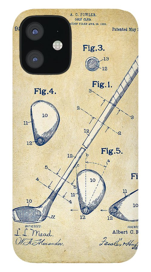 Golf IPhone 12 Case featuring the digital art Vintage 1910 Golf Club Patent Artwork by Nikki Marie Smith