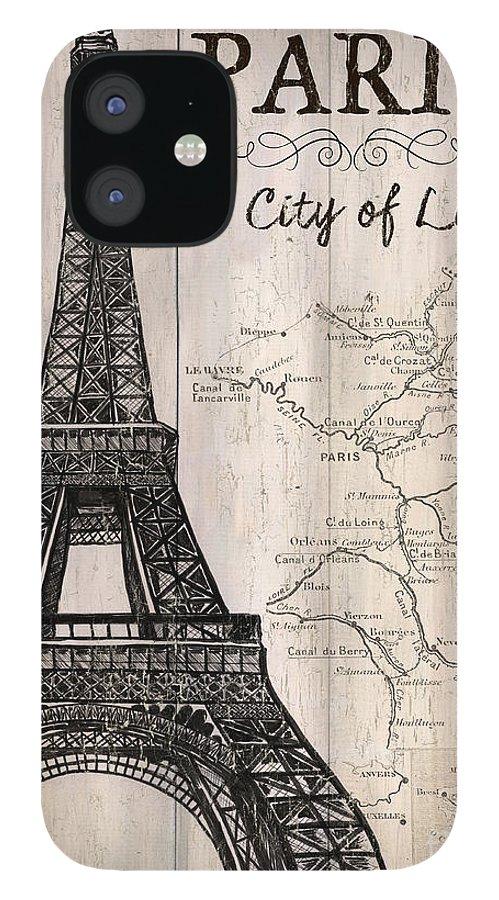 Paris IPhone 12 Case featuring the painting Vintage Travel Poster Paris by Debbie DeWitt