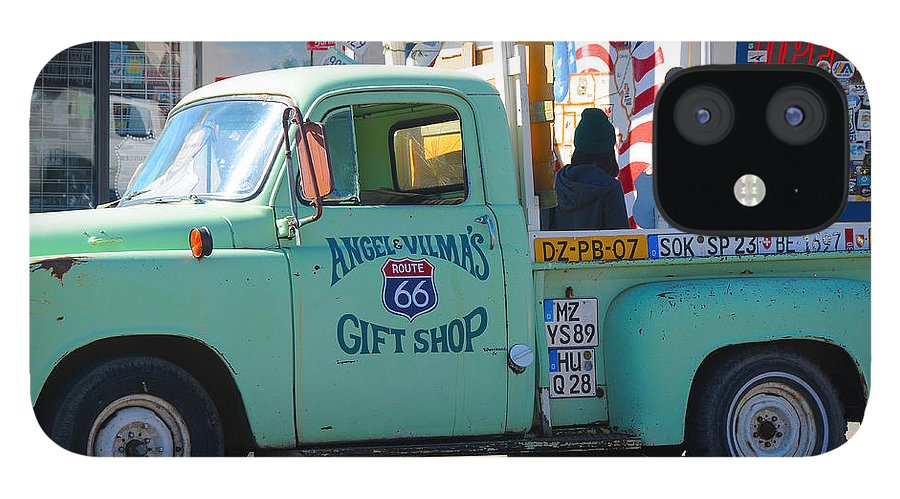Gift Shop IPhone 12 Case featuring the photograph Vintage Truck with Elvis on Historic Route 66 by Victoria Oldham
