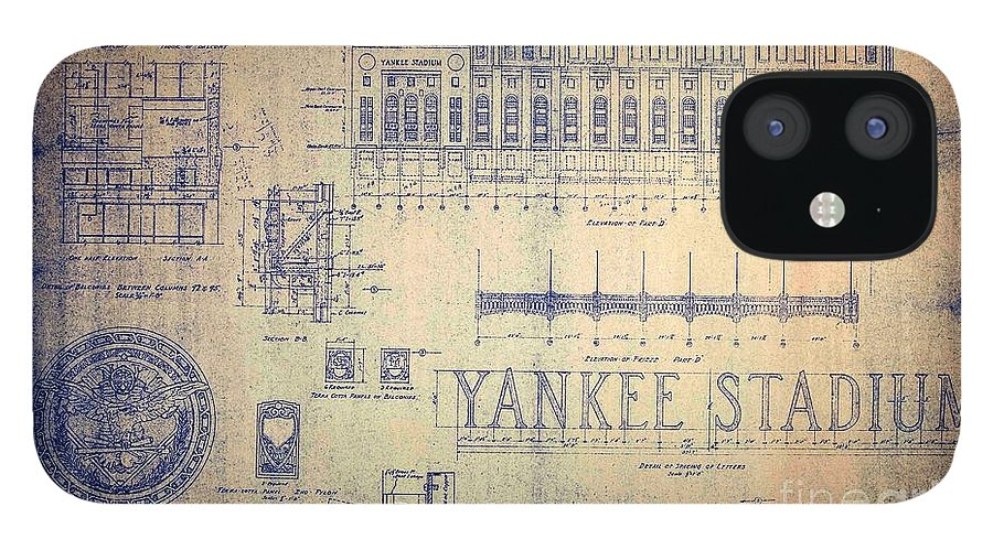 Joe Dimaggio IPhone 12 Case featuring the drawing Vintage Yankee Stadium Blueprint by Peter Ogden Gallery