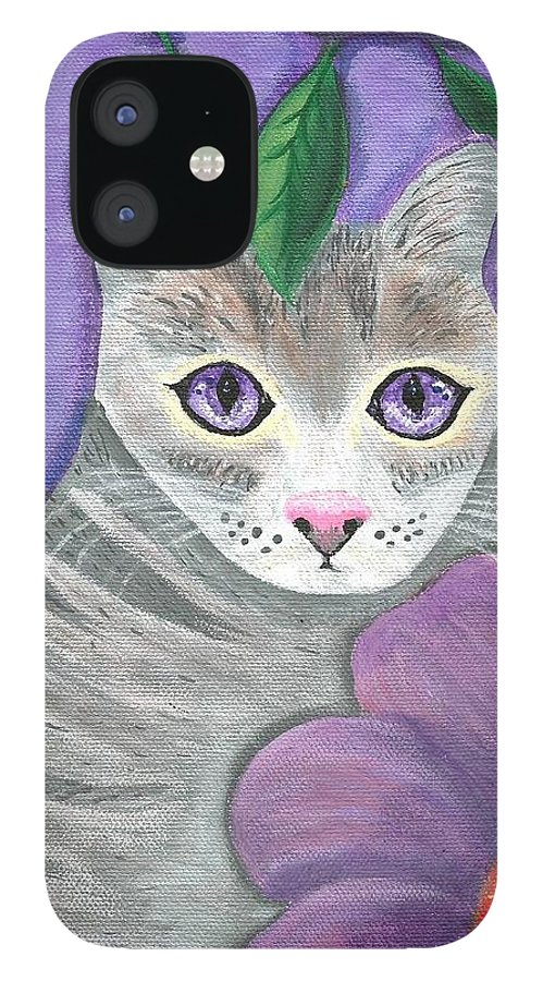 Violet Purple Lavender Eyes Kitty Cat Flower Floral Tabby Grey IPhone 12 Case featuring the painting Violet Eyed Cat by Monica Resinger