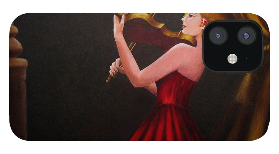 Oil IPhone 12 Case featuring the painting Violinist by Anh T Chau