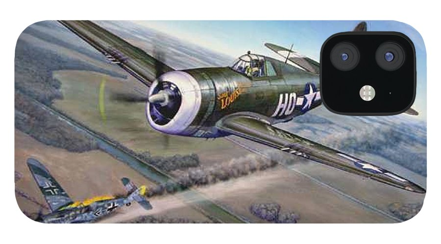The 352nd Fighter Groups First Ace Shoots Down The German Ace Klaus Mietush On March 8th 1944 IPhone 12 Case featuring the painting Virgil Meroney downs Klaus Mietush by Scott Robertson