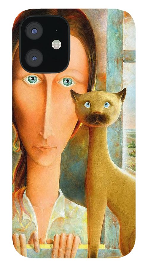 Giuseppe Mariotti IPhone 12 Case featuring the painting Virginia at the Window by Giuseppe Mariotti