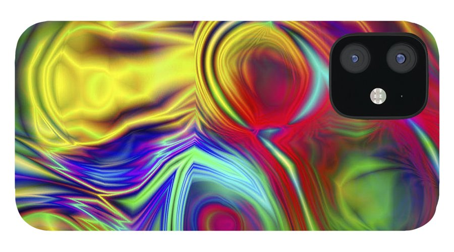 Crazy IPhone 12 Case featuring the digital art Vision 10 by Jacques Raffin