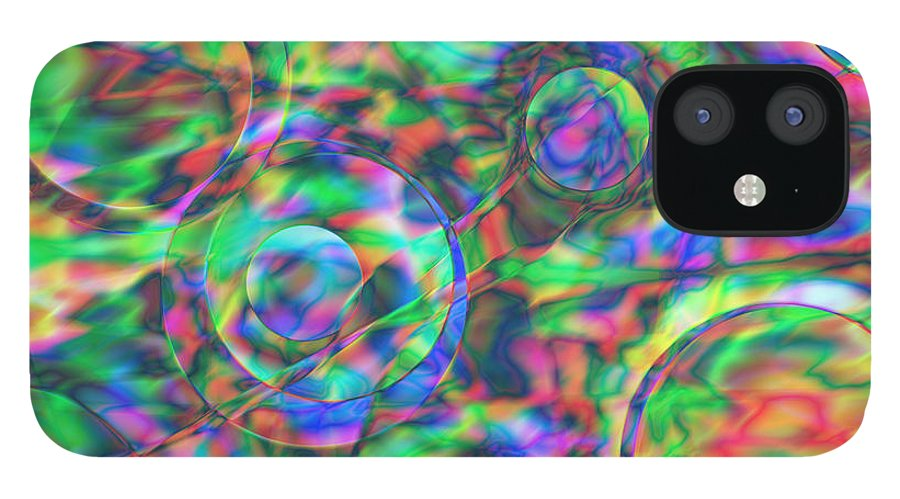 Colors IPhone 12 Case featuring the digital art Vision 28 by Jacques Raffin