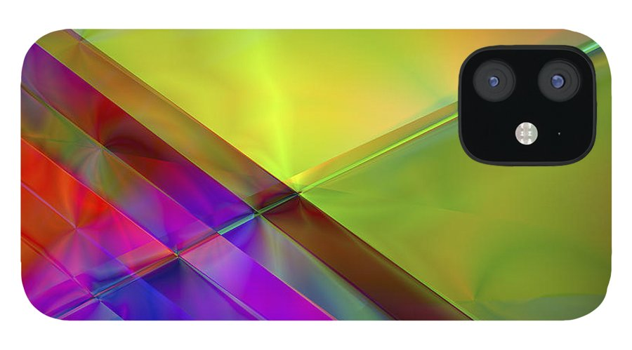 Colors IPhone 12 Case featuring the digital art Vision 3 by Jacques Raffin