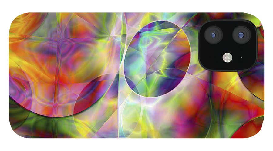 Colors IPhone 12 Case featuring the digital art Vision 36 by Jacques Raffin