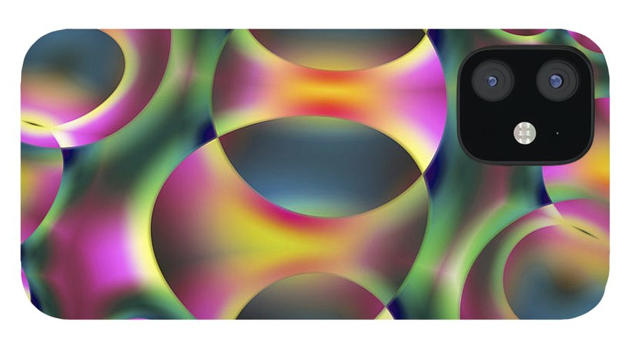 Colors IPhone 12 Case featuring the digital art Vision 40 by Jacques Raffin