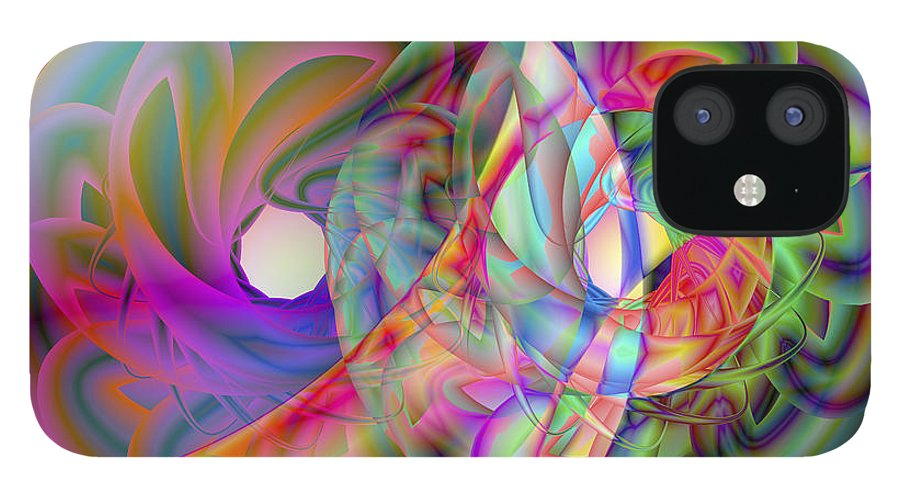 Crazy IPhone 12 Case featuring the digital art Vision 41 by Jacques Raffin