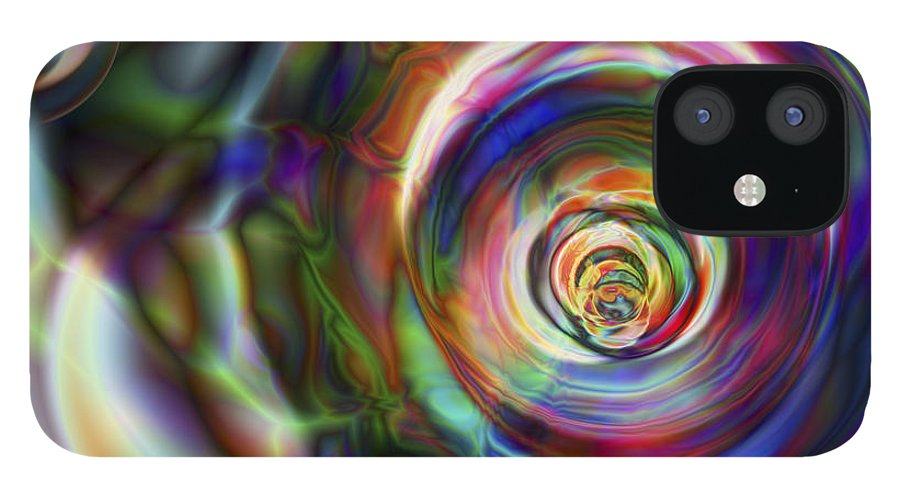 Crazy IPhone 12 Case featuring the digital art Vision 8 by Jacques Raffin