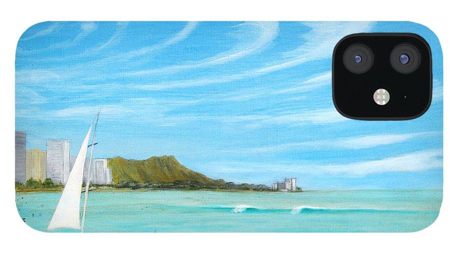 Waikiki IPhone 12 Case featuring the painting Waikiki by Jerome Stumphauzer