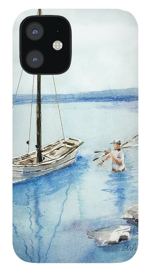 Boat IPhone 12 Case featuring the painting Waist Deep by Suzanne Blender