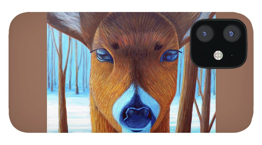 Deer IPhone 12 Case featuring the painting Wait For The Magic by Brian Commerford