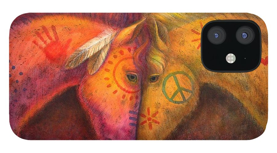 Horse IPhone 12 Case featuring the painting War Horse and Peace Horse by Sue Halstenberg