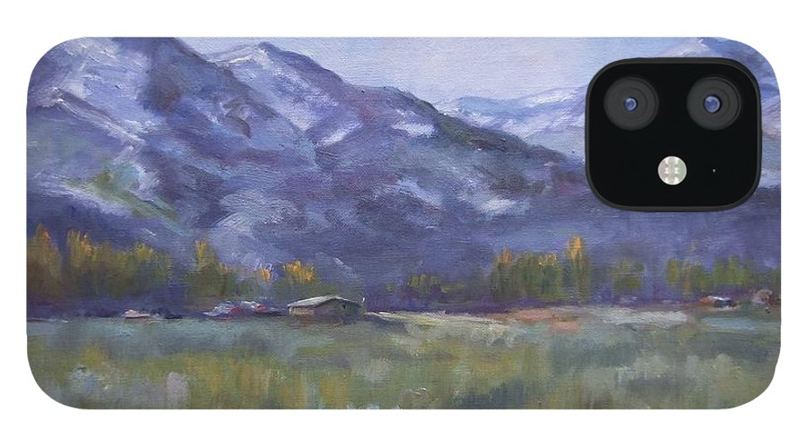 Mountains IPhone 12 Case featuring the painting Wasacth View by Ruth Stromswold