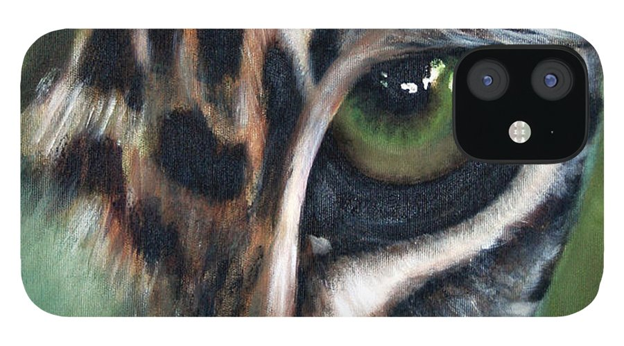 Animals IPhone 12 Case featuring the painting Watching you watching me by Fiona Jack