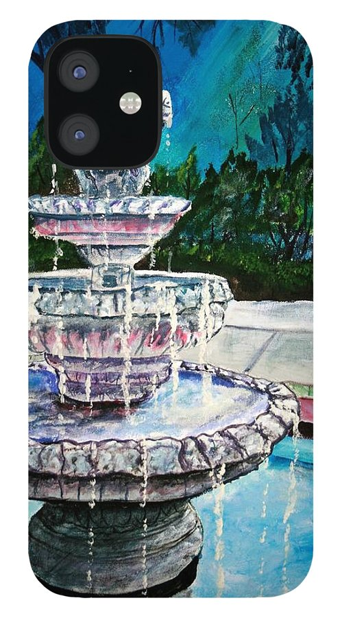 Acrylic IPhone 12 Case featuring the painting Water Fountain Acrylic Painting Art Print by Derek Mccrea