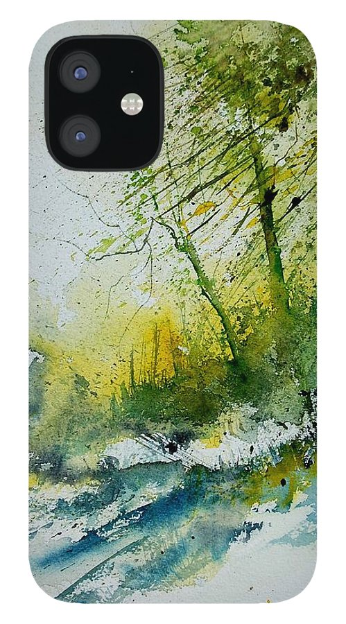 River IPhone 12 Case featuring the painting Watercolor 181207 by Pol Ledent