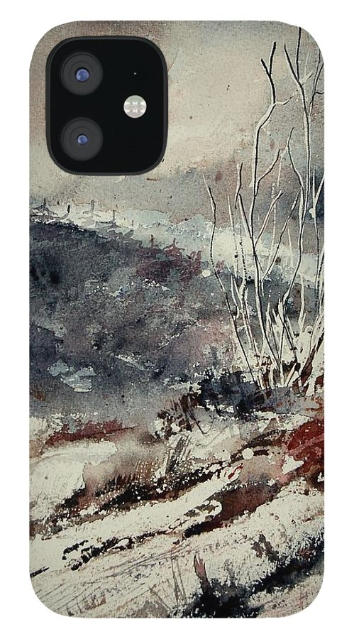 Snow IPhone 12 Case featuring the print Watercolor 446 by Pol Ledent
