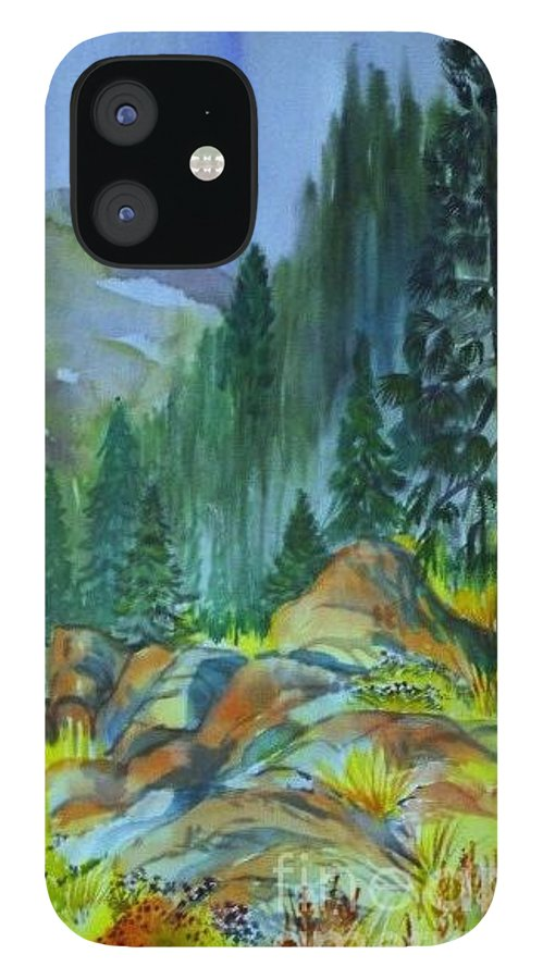 Watercolor Of Forest In Mountains IPhone 12 Case featuring the painting Watercolor of Mountain Forest by Annie Gibbons