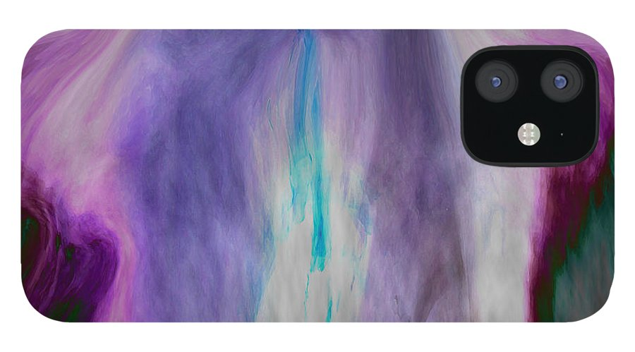 Abstract Art IPhone 12 Case featuring the digital art Waterfall by Linda Sannuti