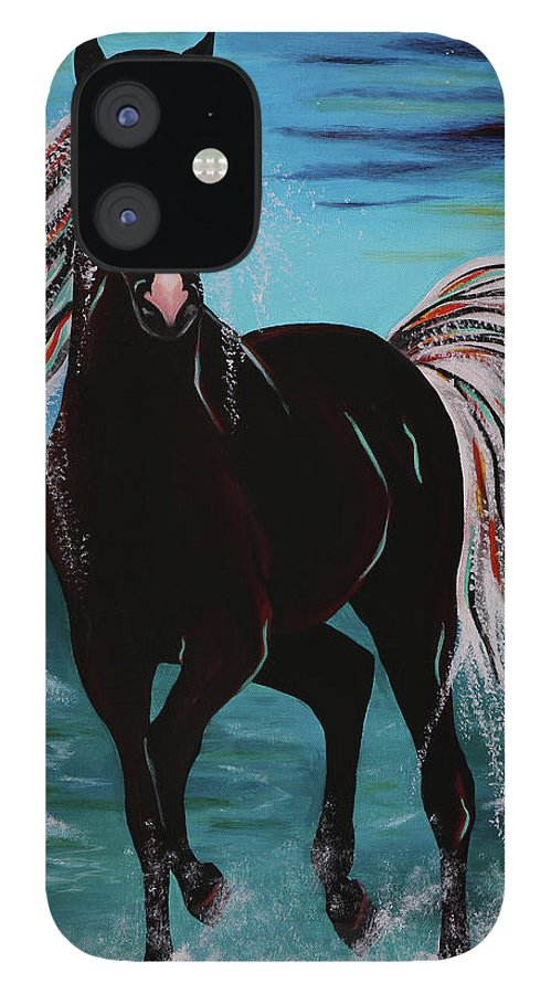Horse IPhone 12 Case featuring the painting Waterhorse by Nicole Paquette