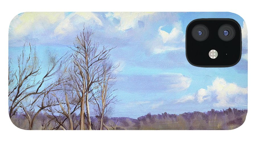 Cows IPhone 12 Case featuring the painting Watering Hole with Cows by Mary Chant
