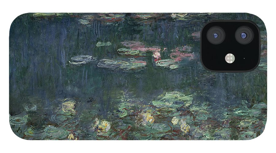 Monet IPhone 12 Case featuring the painting Waterlilies Green Reflections by Claude Monet