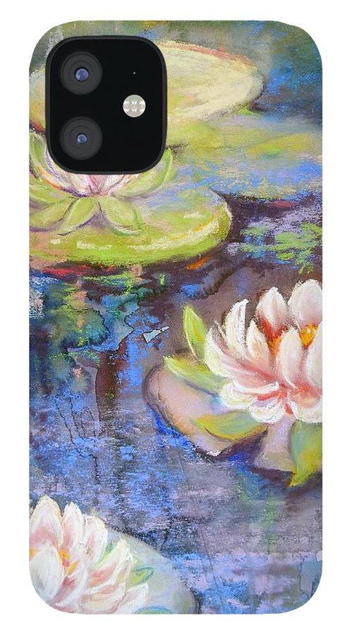 Plants IPhone 12 Case featuring the painting Waterlillies by Caroline Patrick