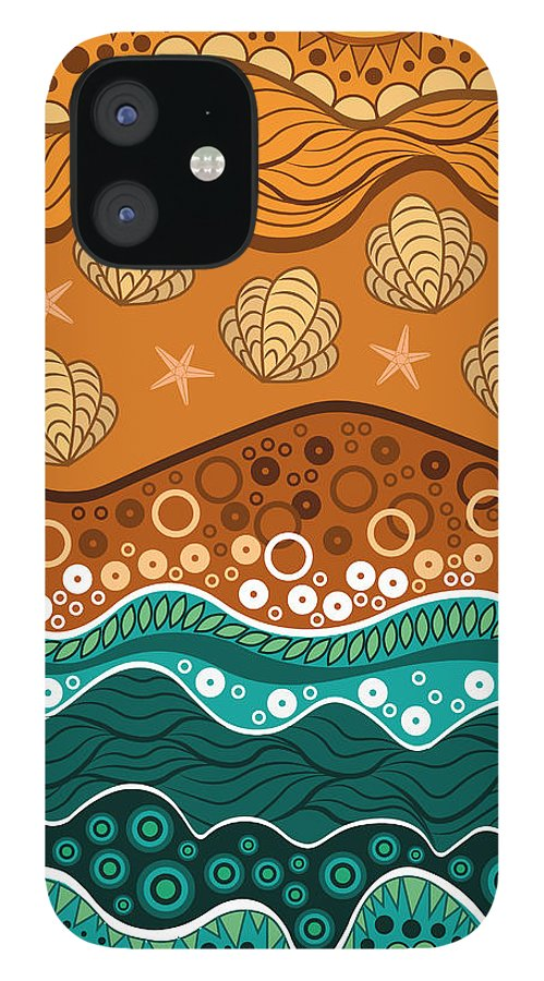 Water IPhone 12 Case featuring the digital art Waves by Veronika S