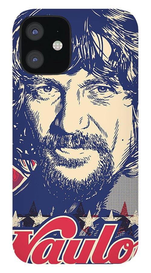 Outlaw iPhone 12 Case featuring the digital art Waylon Jennings Pop Art by Jim Zahniser