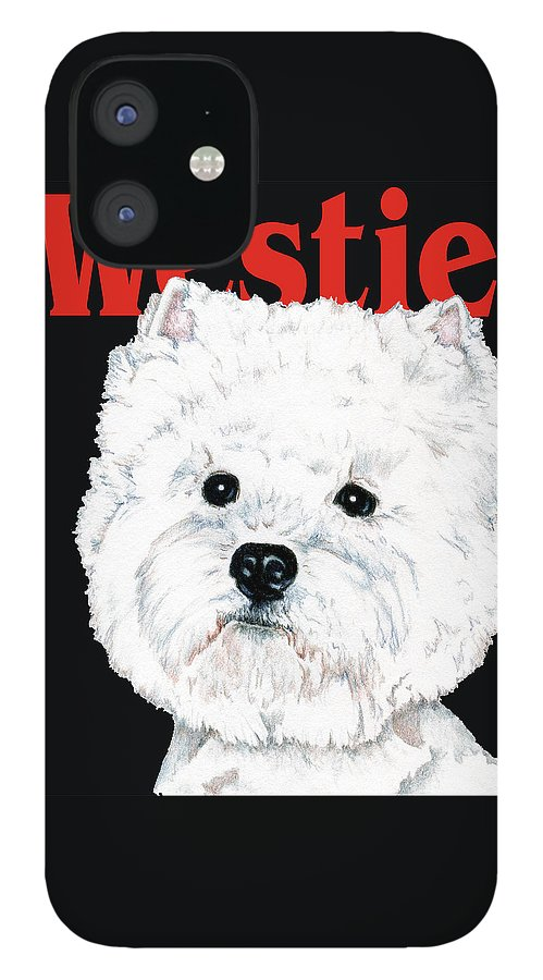 Westie IPhone 12 Case featuring the drawing West Highland White Terrier Westie Urban Pop by Kathleen Sepulveda
