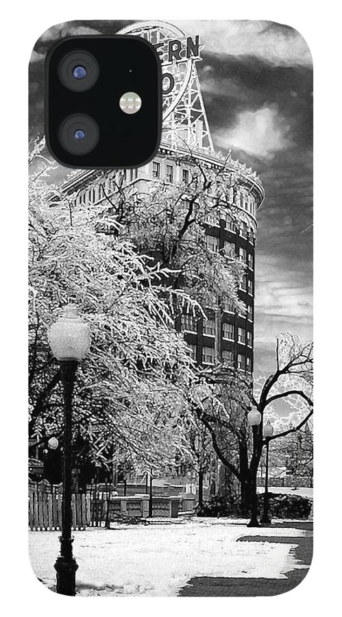 Western Auto Kansas City IPhone 12 Case featuring the photograph Western Auto In Winter by Steve Karol