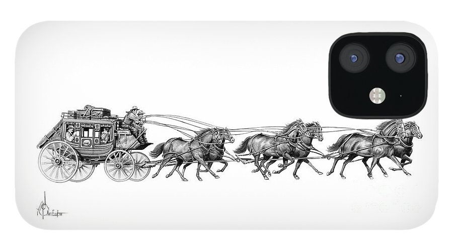 Pencil iPhone 12 Case featuring the drawing Western Stagecoach by Murphy Elliott