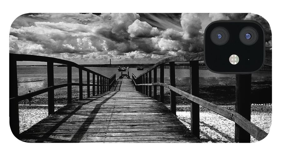 Southend On Sea Wharf Clouds Beach Sand IPhone 12 Case featuring the photograph Wharf at Southend on Sea by Sheila Smart Fine Art Photography