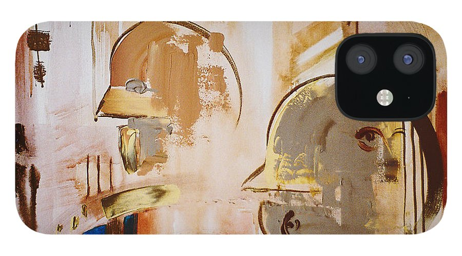 Abstract IPhone 12 Case featuring the painting What is Identity by Stephen Lucas