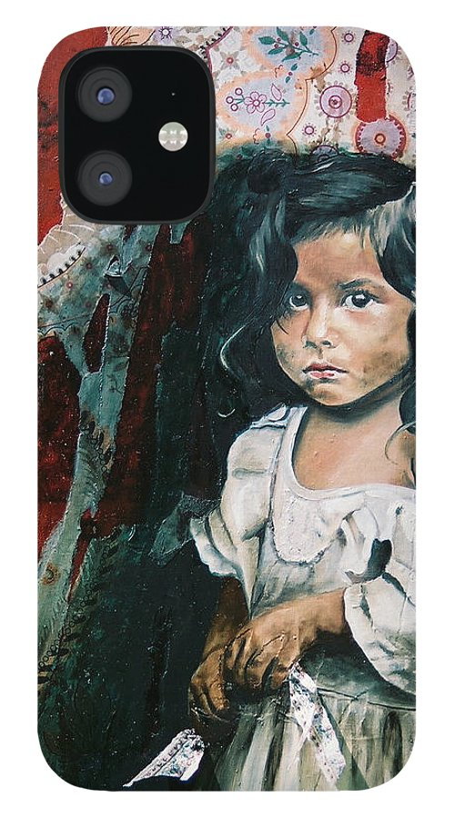 Asian Girl IPhone 12 Case featuring the painting What Is My Worth by Teresa Carter