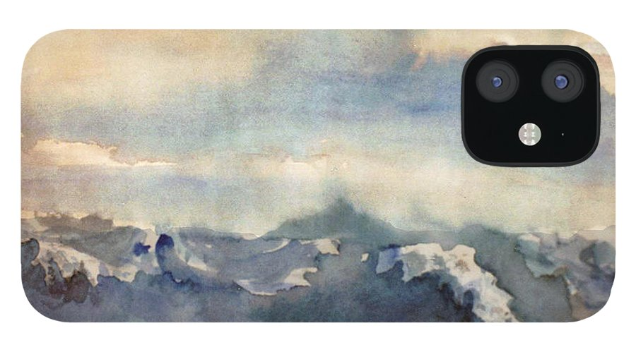 Seascape IPhone 12 Case featuring the painting Where Sky Meets Ocean by Steve Karol