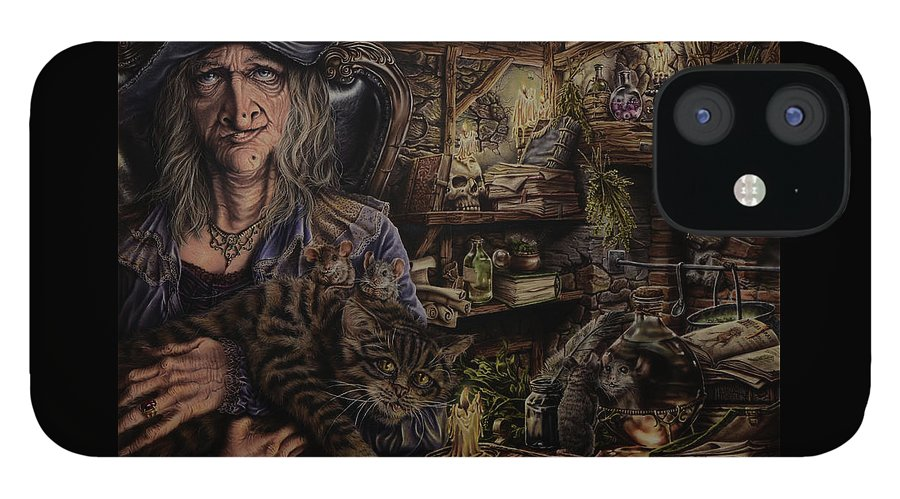 Fantasy IPhone 12 Case featuring the painting Which witch is which by Robert Haasdijk