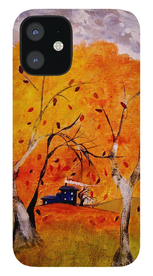 Abstract IPhone 12 Case featuring the painting Whimsical Wind by Ruth Palmer