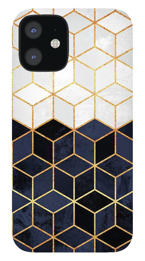Graphic iPhone 12 Case featuring the digital art White and navy cubes by Elisabeth Fredriksson
